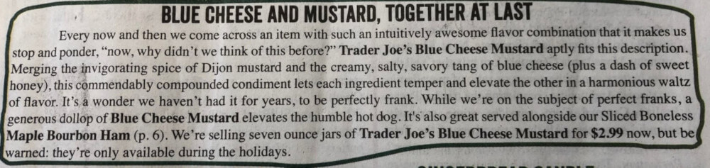 Blue Cheese and Mustard, Together at Last Ad