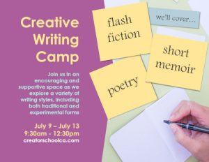 Flyer for Creative Writing Course