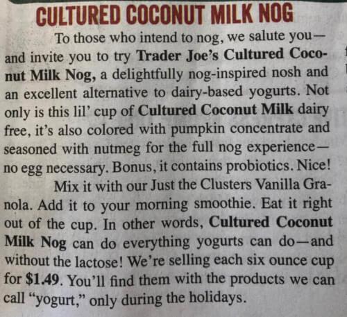 Cultured Coconut Milk Nog Ad