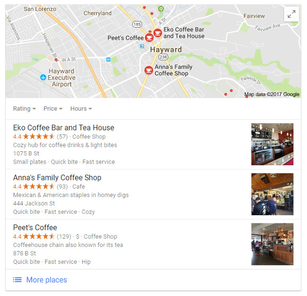 Googel local search results for coffee